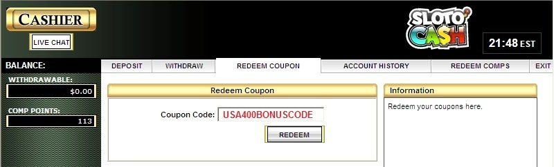 slotocash-coupon-code-usa400bonuscode