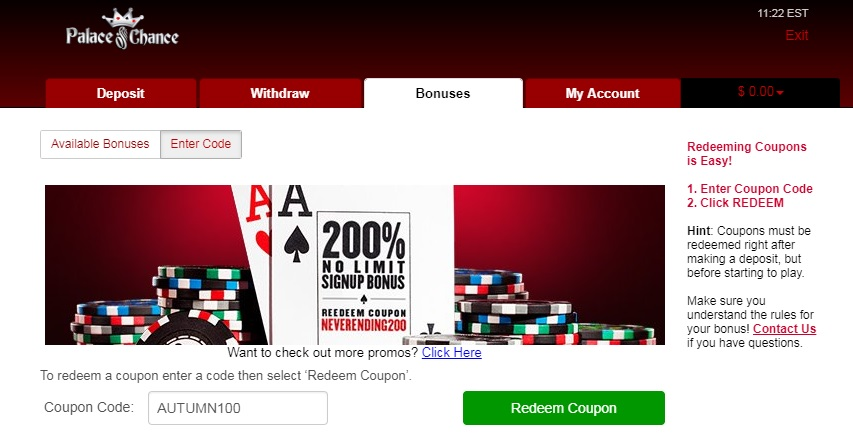 Top 4 Palace of Chance Coupon Codes & No Deposit Bonuses Sep